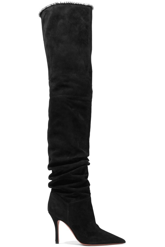 Barbara Crystal-Trimmed Suede Over-the-Knee Boots