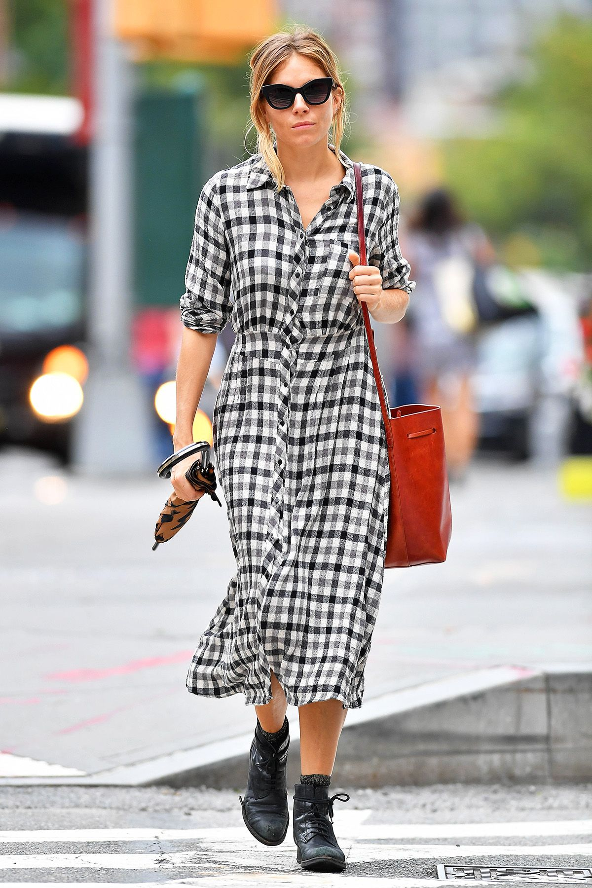 1c66fe833 Sienna Miller's Zara Dress Looks Perfect With Ankle Boots | WhoWhatWear.com  | Bloglovin'