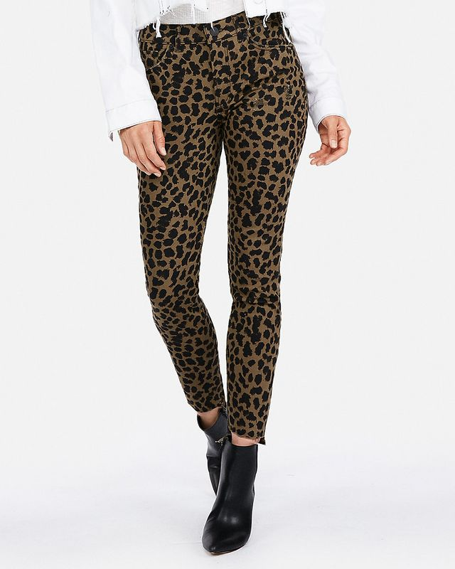 Mid Rise Leopard Stretch Ankle Jean Leggings