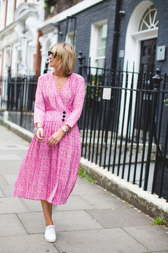 A Style Album's Emma Thatcher wearing a pink tea dress from ASOS