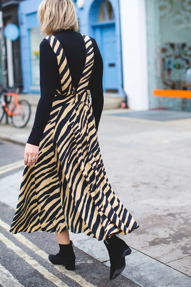 A Style Album's Emma Thatcher wearing a zebra print pinafore from Topshop