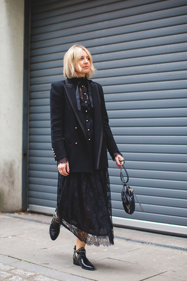 A Style Album's Emma Thatcher wearing a black lace dress from Philosophy Di Lorenzo Serafini
