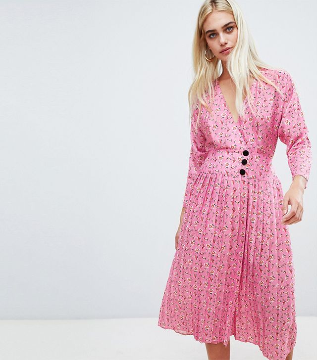 pleated midi dress with side buttons in ditsy floral