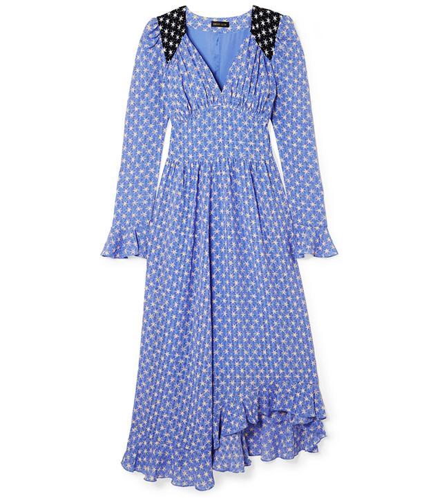 Freesia Ruffled Printed Voile Midi Dress