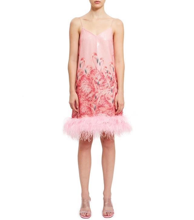Adam Selman Sheer Flamingo Slip Dress