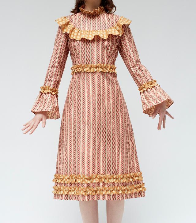 Batsheva Bib Dress in Red Zigzag