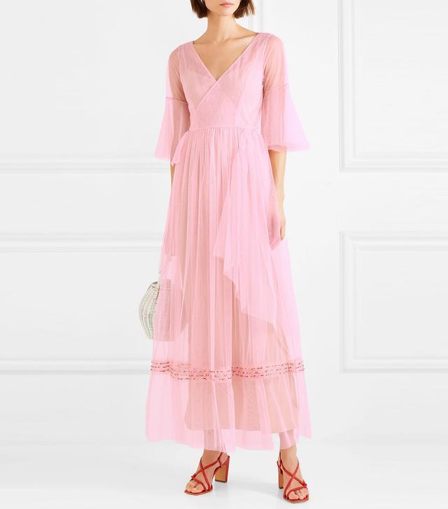 Stella Bead-Embellished Tulle Wrap Maxi Dress