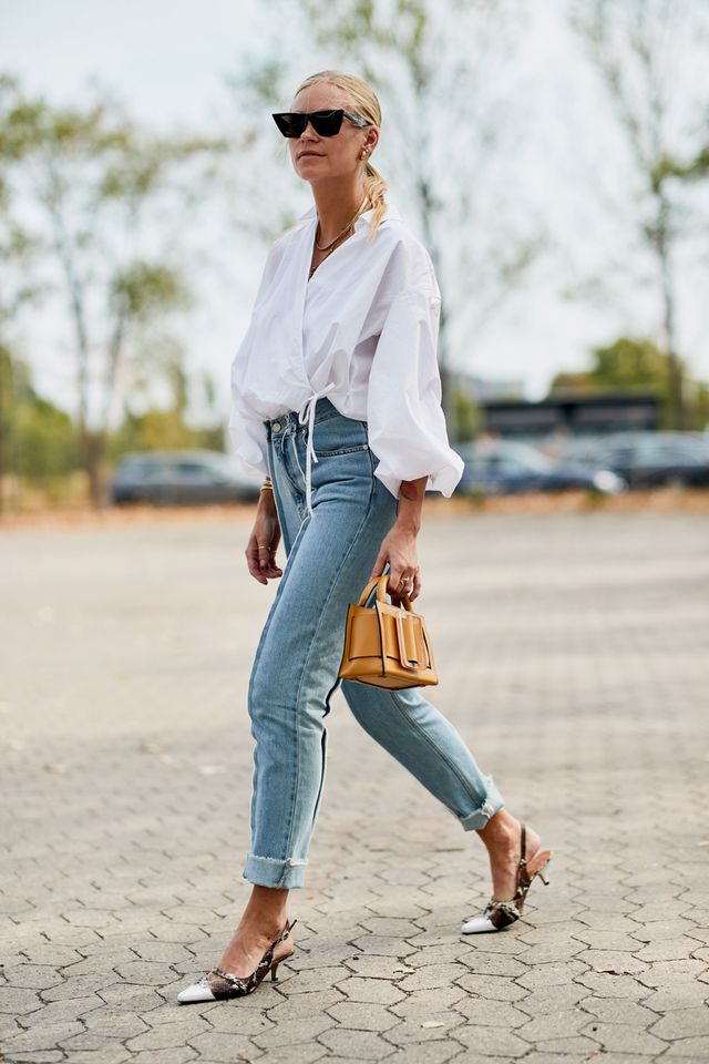 White shirt and jeans outfit