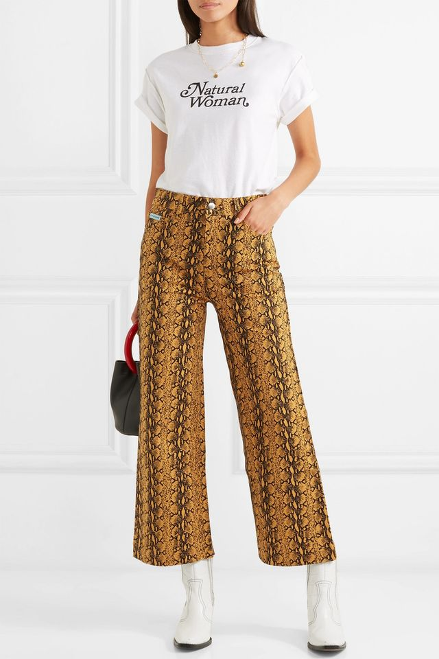 Cropped Snake-Print High-Rise Wide-Leg Jeans