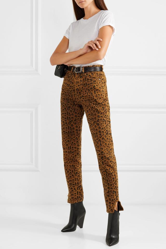 Leopard-Print High-Rise Slim-Leg Jeans