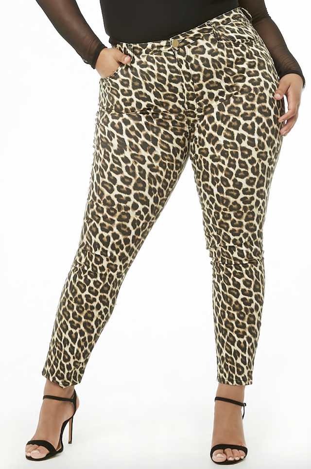 Forever 21 Leopard Print Skinny Jeans