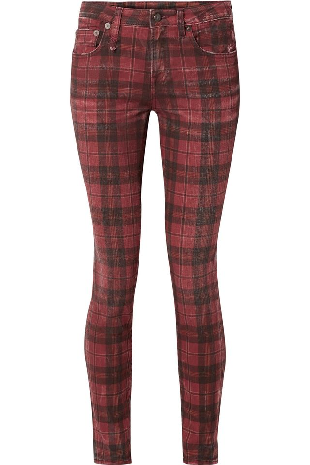 Kate Distressed Tartan Low-Rise Skinny Jeans