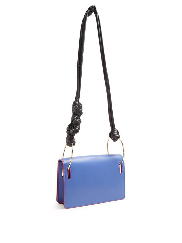 Dia Leather Shoulder Bag in Blue