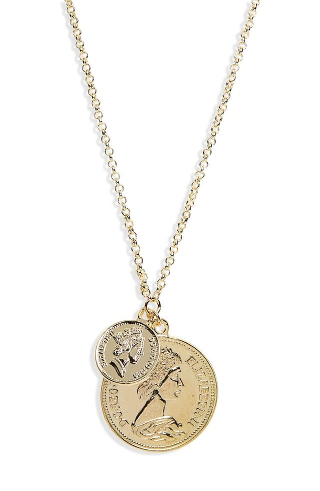 Shashi Double Coin Pendant Necklace