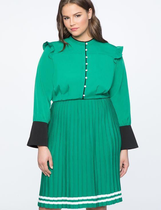 Eloquii Pleated Contrast Cuff Dress
