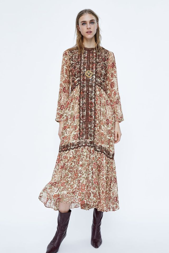 Zara Printed and Embroidered Dress