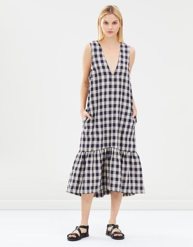Lee Matthews Kendall Checked Linen V-Neck Tunic Dress