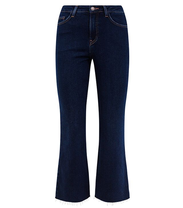 New Look Blue Rinse Wash Frayed Kick-Flare Jean