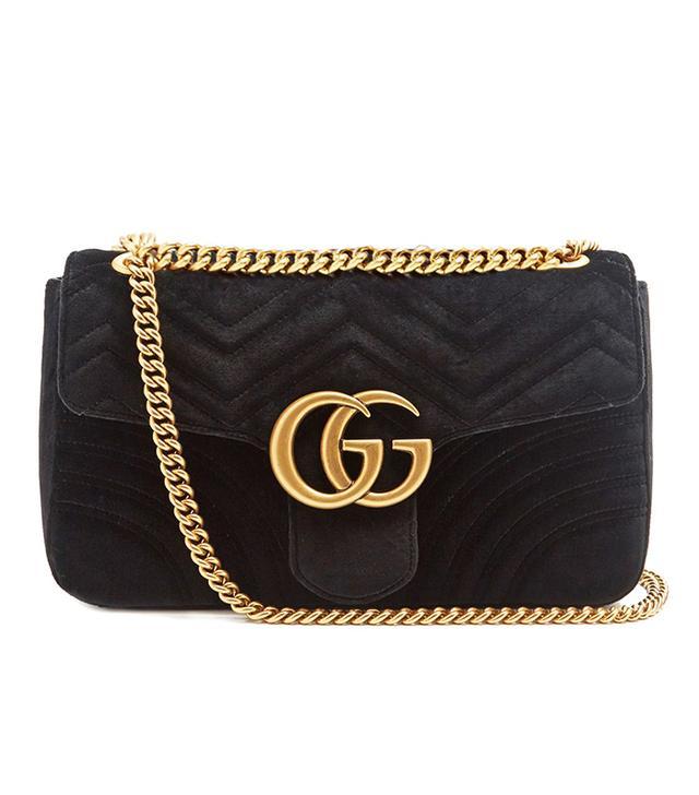 Gucci GG Marmont Mini Velvet Quilted Shoulder Bag