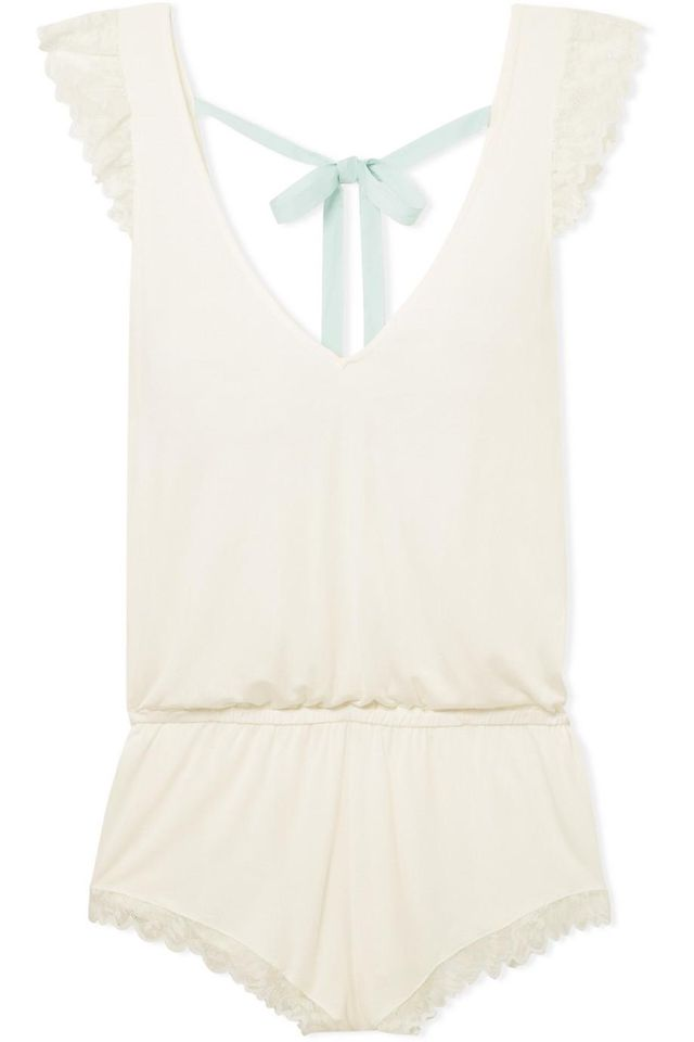 Rosario Lace-trimmed Stretch-modal Jersey Playsuit