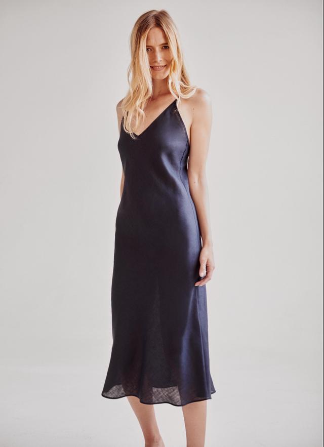 Sleeper Bosporus Navy Linen Slip Dress