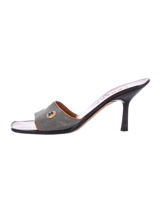 Chanel CC Canvas Slide Sandals