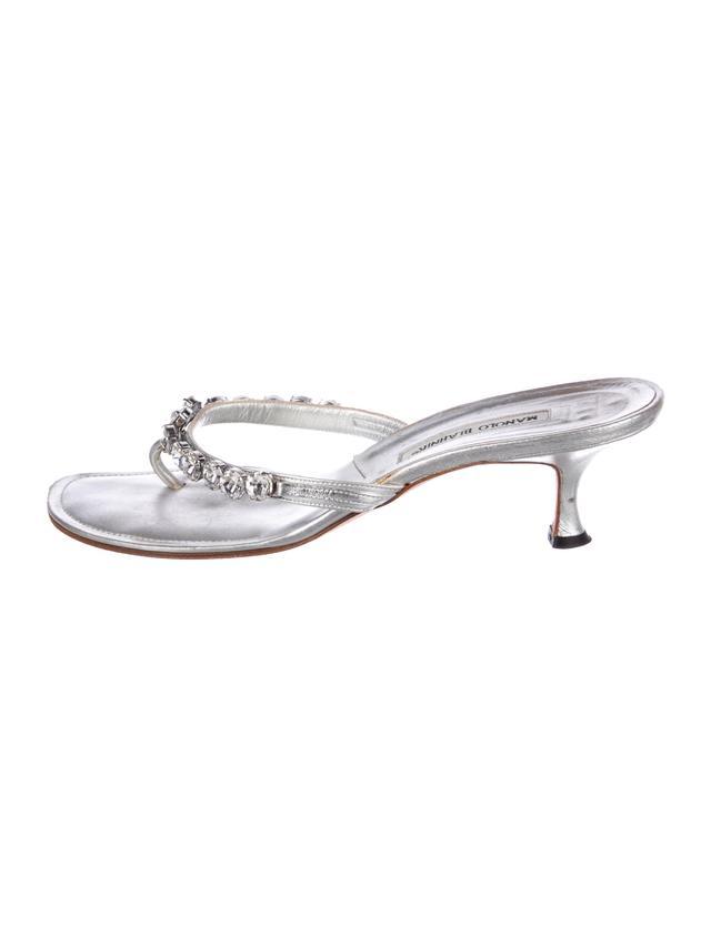 Manolo Blahnik Crystal-Embellished Leather Sandals