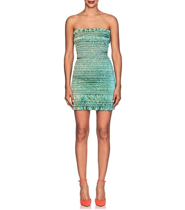 Women's Emily Smocked Cotton-Blend Lamé Minidress-Green Size XS