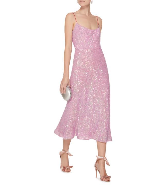 M'O Exclusive Heart Of Glass Sequin Silk Midi Dress