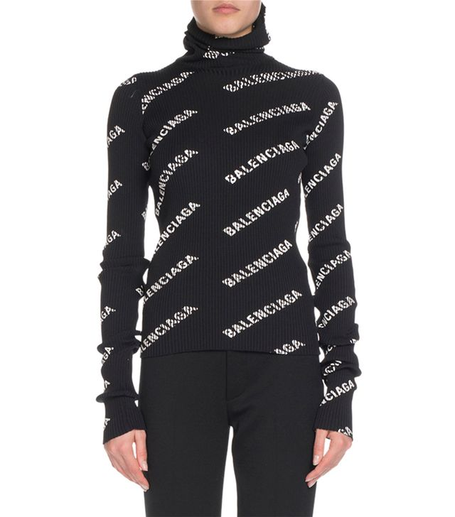 Balenciaga Rib-Knit Logo Intarsia Turtleneck Top