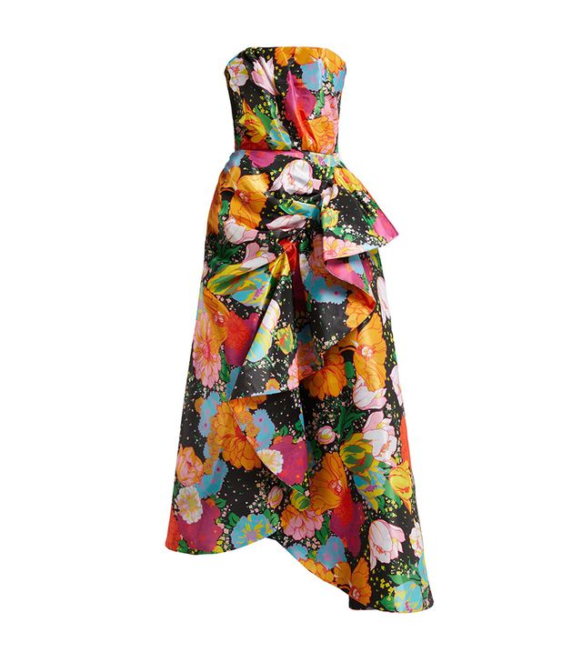 Richard Quinn Floral-Print Strapless Satin Dress
