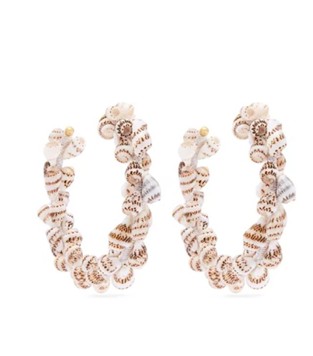 Rebeca de Ravenel Olympia Shell and Gold-Plated Hoop Earrings