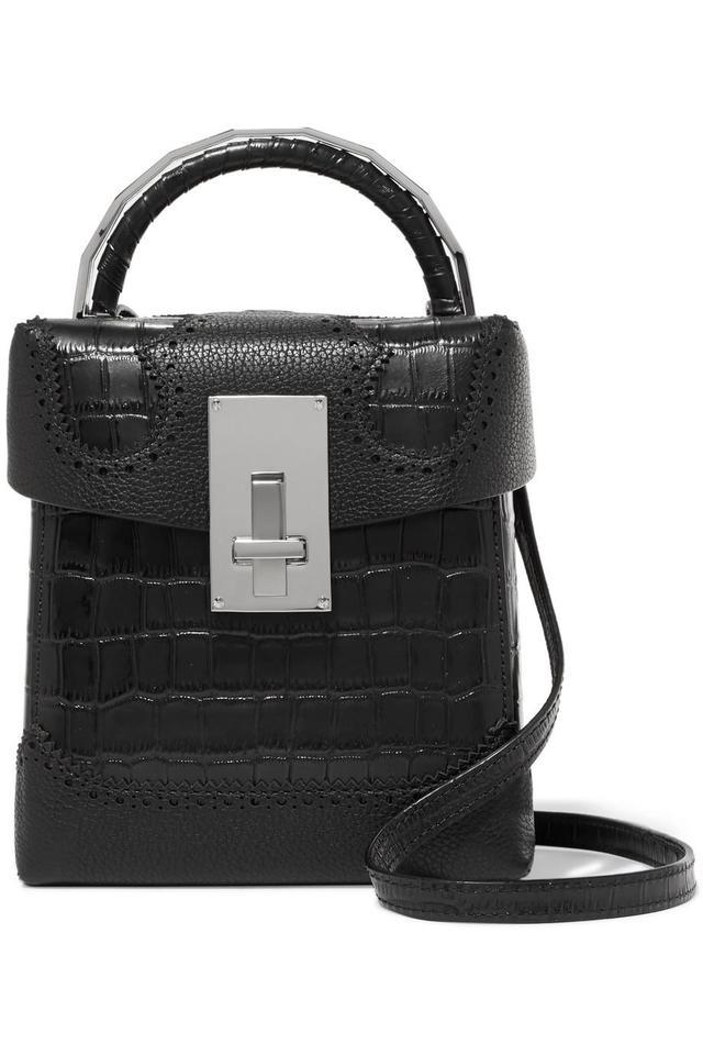 Great L Alice Laser-Cut Croc-Effect Leather Shoulder Bag
