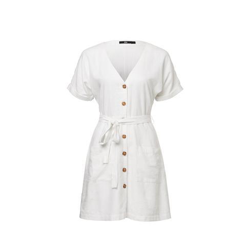 Linen Button Thru Mini Dress
