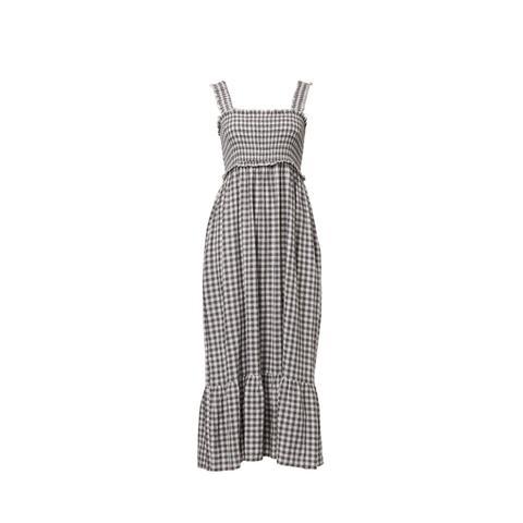 Gingham Linen Blend Maxi Dress