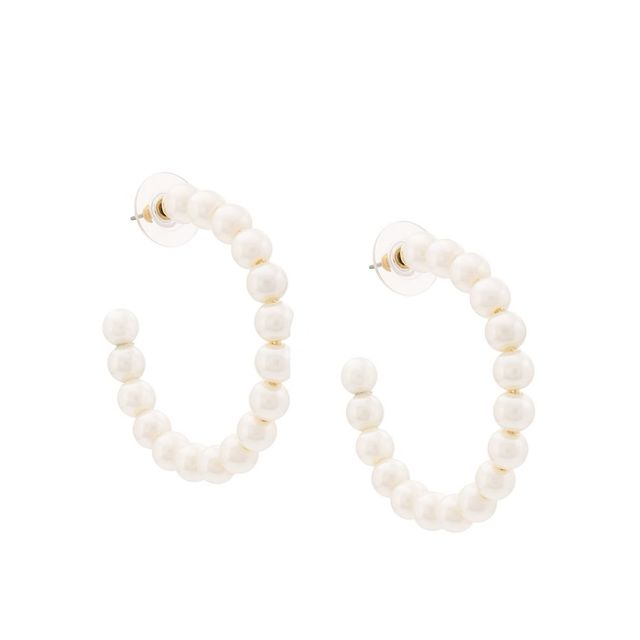 Lele Sadoughi Faux-Pearl Hoop Earrings