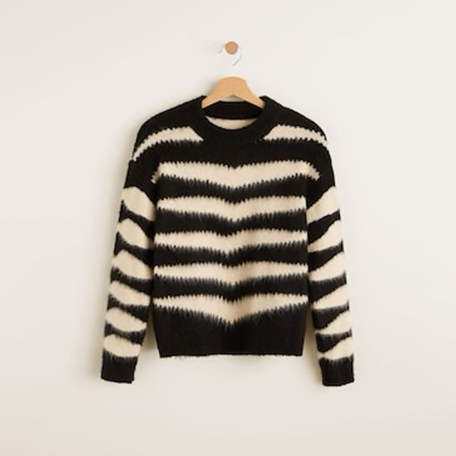 Mango Zebra Textured Sweater