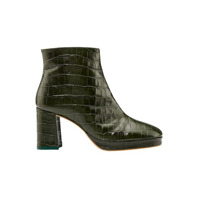 Miista Edith Mock Croc Leather Ankle Boots