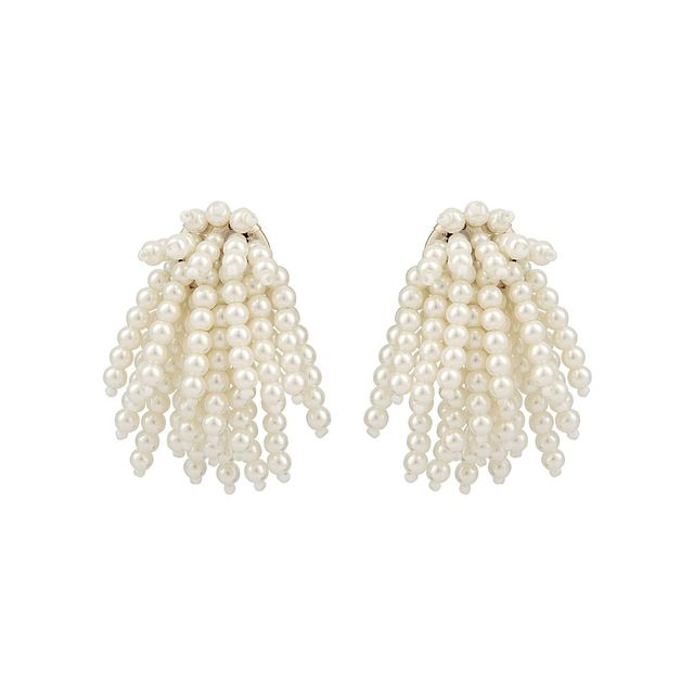 Oliver Bonas Pearl Flicker Fan Earrings