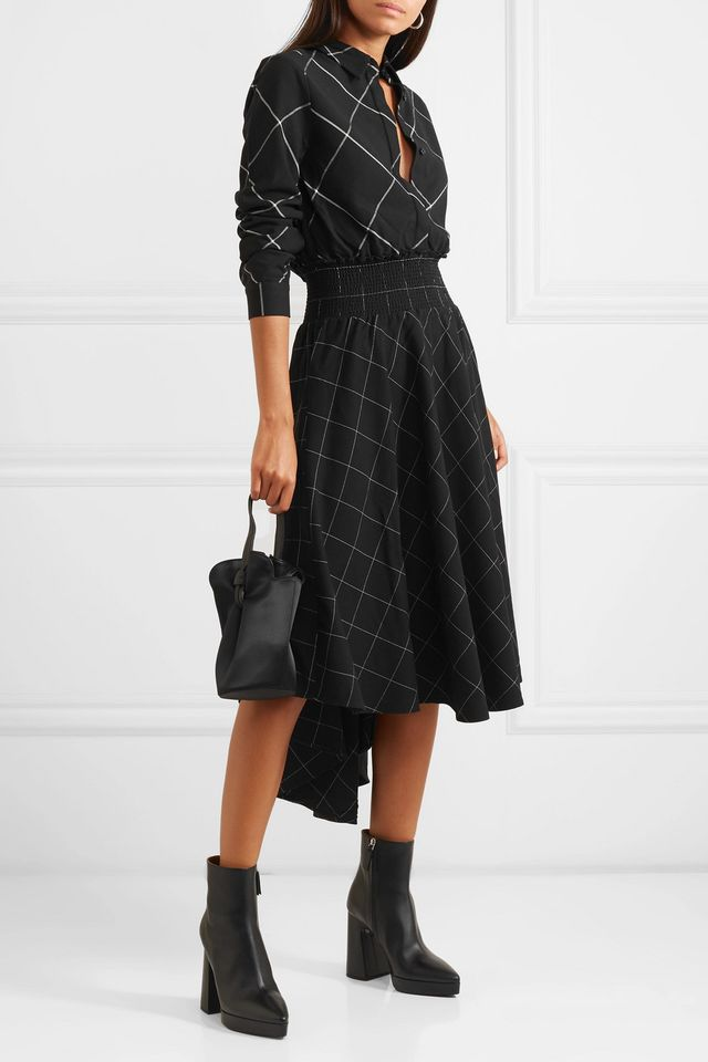 Maje Asymmetric Checked Twill Midi Dress