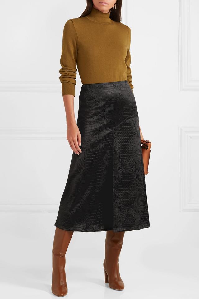 Sonia Rykiel Croc-Effect Satin Midi Skirt