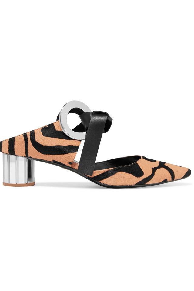 Zebra-print Calf Hair Mules