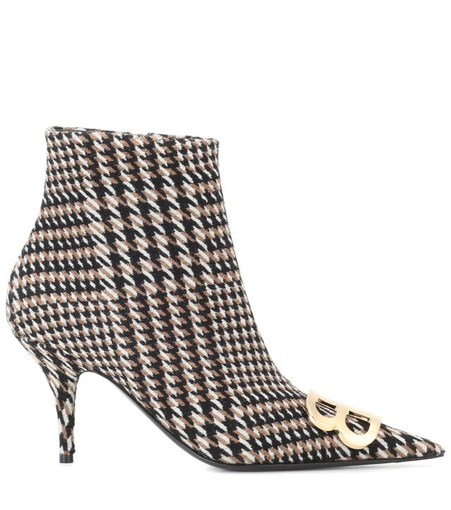 Balenciaga BB Houndstooth Ankle Boots
