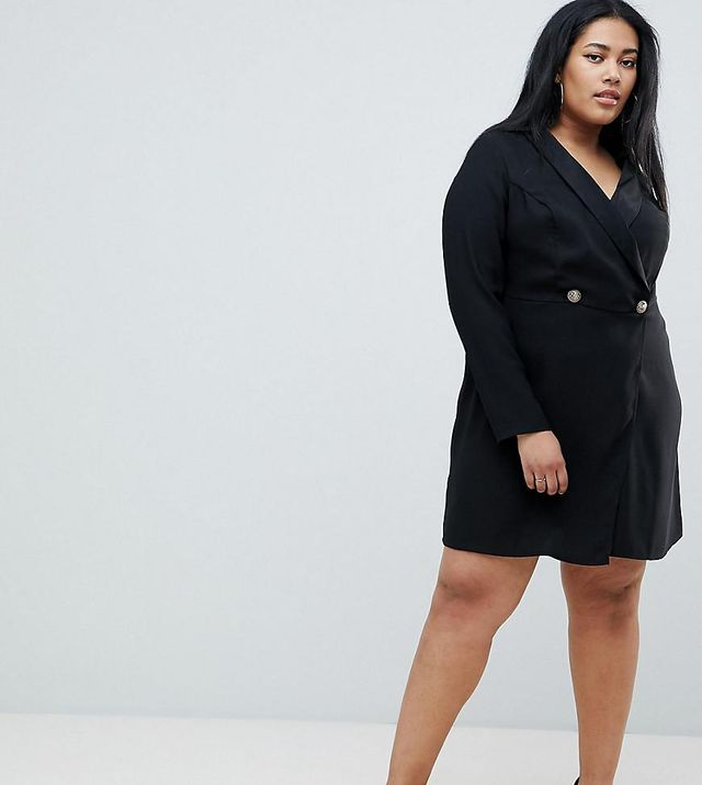 ASOS DESIGN Curve blazer mini dress with buttons