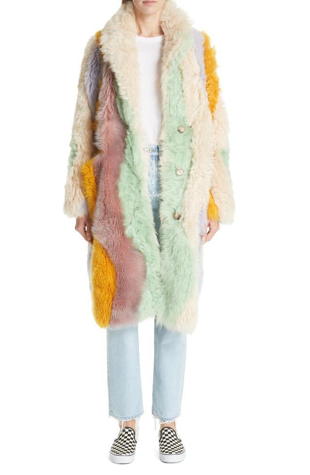 Wavy Patchwork Reversible Genuine Shearling Coat