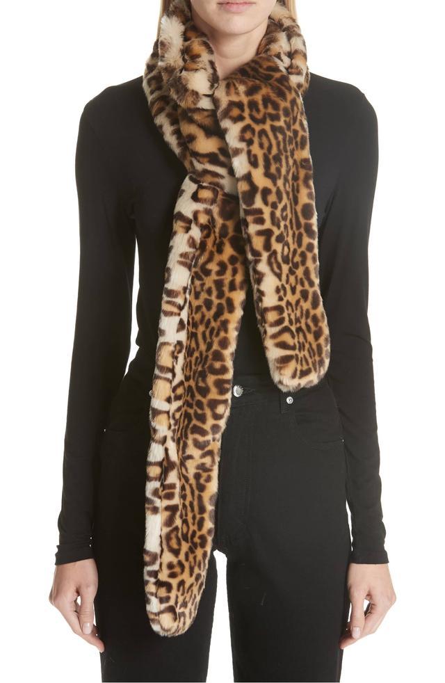 Shrimps Maeve Leopard Print Faux Fur Scarf