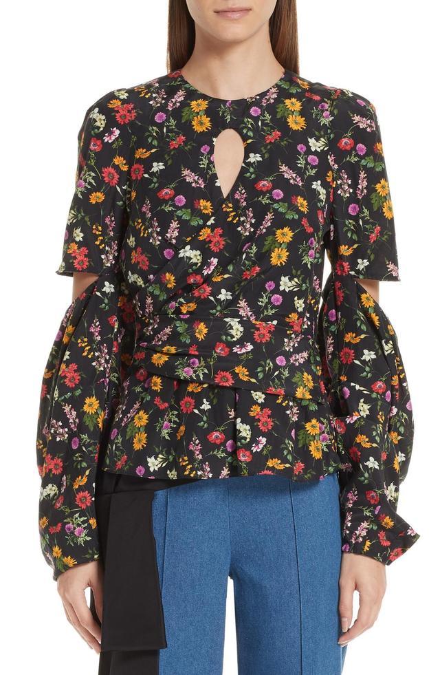 Celeste Silk & Cotton Cutout Blouse