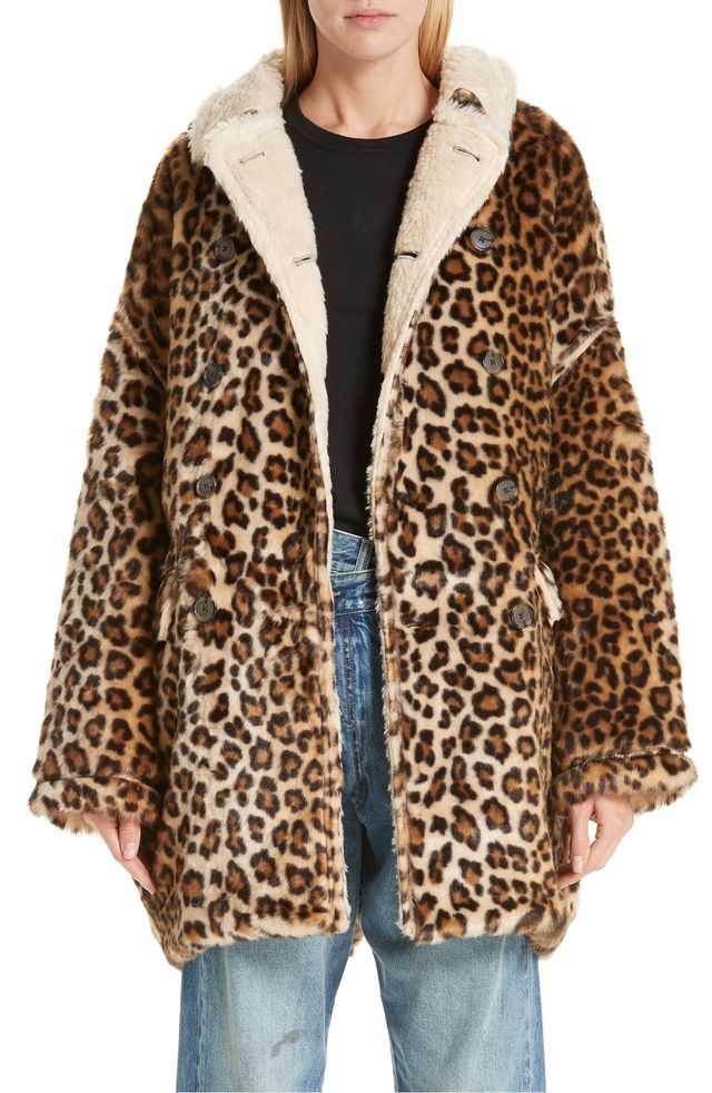 R13 Oversize Faux Leopard Hunting Coat