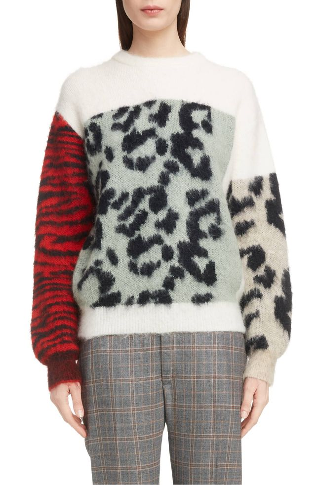 Toga Colorblocked Animal Jacquard Sweater