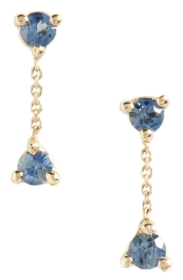 Counting Collection Small Two-Step Sapphire Drop Earrings